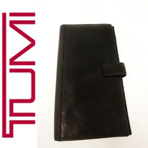 Large Tumi Black Leather Wallet checkbook Bifold